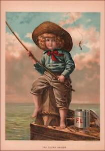 BOY FISHING WITH MINNOWS ON PIER antique chromolithograph original 1887 $27.00