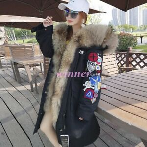 Embroidery Occident 100% Real Raccoon Fur Hooded Fur Lining Thicken Parka JackeT
