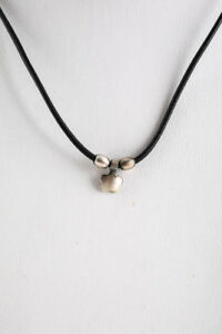 Me & Ro Sterling Silver Black Leather Flower Bead Necklace