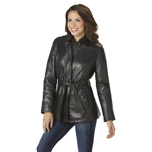 Women's Excelled Plus Leather Wrap Jacket Black 1X #NJ1GA-485