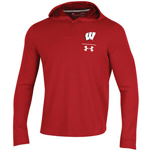 Wisconsin Badgers Under Armour Red 14 Zip Loose Sideline Waffle Hoodie Pullover