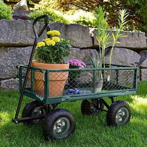 Garden Carts Yard Dump Wagon Cart Lawn Utility Cart Outdoor Steel Heavy Duty