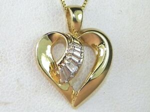 10k Yellow Gold Diamond-.03 tcw Solitaire Heart Pendant Necklace-18
