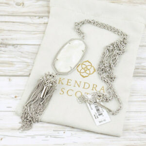 NWT Kendra Scott Rayne Tassel Pendant Necklace Ivory Shell Pearl Silver Tone