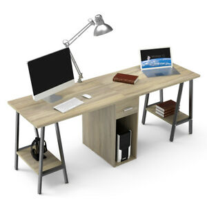 Two Person Computer Desk with Drawers 78'' Extra Large Long Double Computer Desk