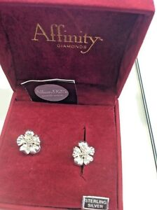 affinity diamond qvc Sterling With Diamond Flower Earrings