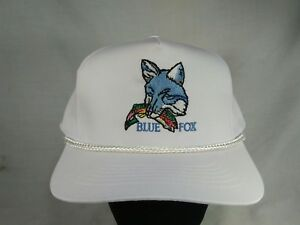 NOS Vtg Blue Fox Fishing Lures Snapback Trucker Corded Hat 1980's Fish Tackle
