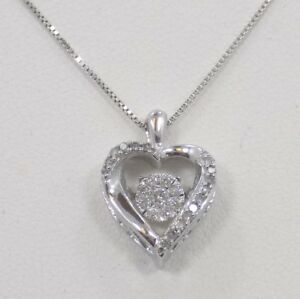 10k Solid White Gold Dancing Diamond Cluster Heart Necklace ~ 17 12