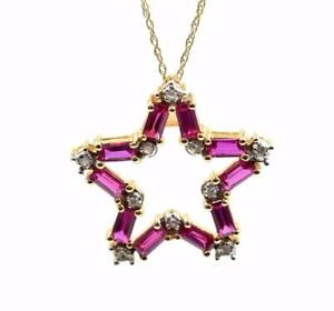 10k Yellow Gold 0.05cttw Round Diamond and Red Stone Floating Star Necklace