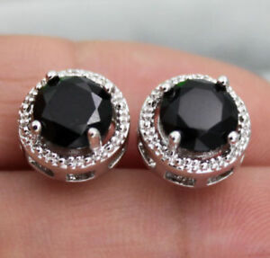 Delicated 4Ct Round Cut Black Diamond Halo Stud Earrings 14K White Gold Finish