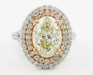 Fancy Yellow Oval Cut Halo Design GIA Certified Diamond Engagement Ring 18k W...