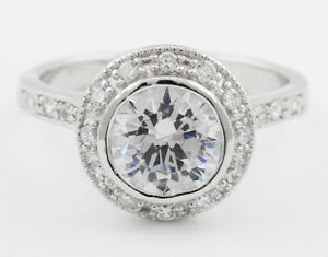4.00 Carat Round Brilliant Cut Diamond Halo Design Platinum Engagement Ring G...