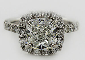 GIA Certified Classic Halo Design Cushion and Round Cut Diamond Engagement Ri...