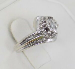 10k Solid White Gold Marquise Diamond Engagement Ring ~ 6 34 ~ 3.3 Grams