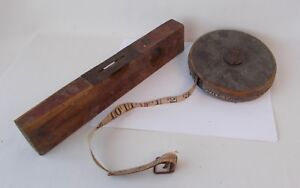 Antique Lufkin Rule Co. Tape Measure in Leather Case amp; Old Level $19.00