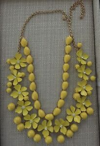 Rare! J CREW  Yellow Flowers  Statement Necklace NICE!!!