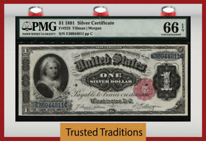 TT FR 223 1891 $1 SILVER CERTIFICATE MARTHA SMALL RED SEAL PMG 66 EPQ GEM UNC!