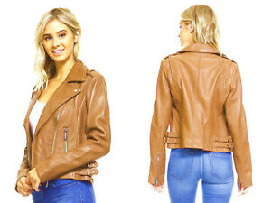 MICHAEL KORS Caramel-Beige-Tan Asymmetric Genuine Leather Moto Jacket sz L $450