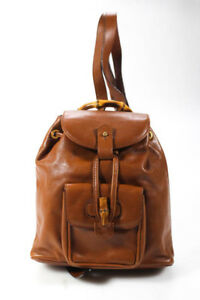 Gucci Womens Handbag Brown Leather Bamboo Backpack Style Bag
