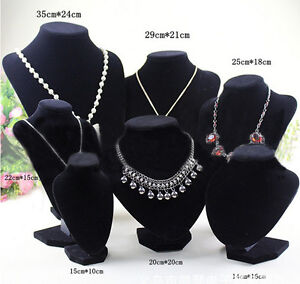 Velvet Necklace Pendant Chain Jewelry Bust Display Holder Stand Brand WD