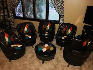 11 Pc Vtg 60 70's Man Cave Kentucky Brothers Whiskey Barrel Chairs Table Bar🍺