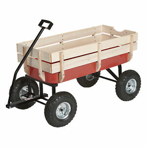 All-Terrain Pulling Outdoor Removable Wooden Side Red Wagon, 220-Lb. Capacity