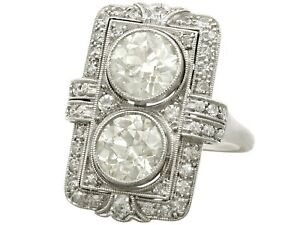 Antique French 4.84 ct Diamond and Platinum Dress Ring Art Deco 1920s