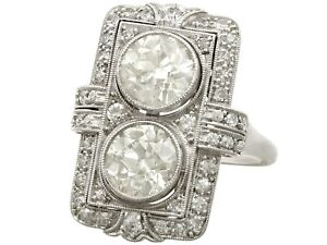 Art Deco Antique French 4.84 Ct Diamond and Platinum Dress Ring 1920s
