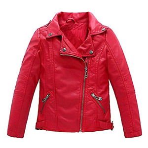 Meeyou Children's Motorcycle Leather Jacket Faux Leather Coat for Boys Red