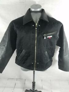 VTG Guess Sense USA Mens M Faux Leather Zip Up Motorcycle Jacket Black Bomber