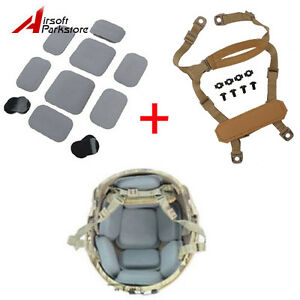Military Tactical MICH ACH Helmet Retention System H-Nape & Protective Pads
