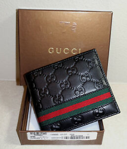 New Men's BLACK 100% Authentic Leather Bifold Gucci!~ Wallet
