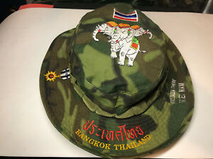 Boonie Hat Vietnam Thailand Tropical Camo 1968 Tag International Co. Stitched