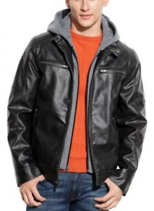 GUESS Mens Black Hooded Bib Faux Leather Motorcycle Jacket Coat