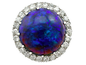 Antique 1930s 7.20 Ct Black Opal 0.78 Ct Diamond Platinum Dress Ring Size 6