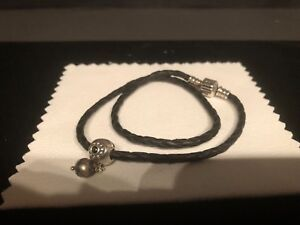 Authentic Pandora Double Woven Leather BraceletChocker With Onyx