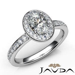 Oval Diamond Marvelous Engagement Halo Pave Set Ring GIA D VS1 Platinum 0.95Ct