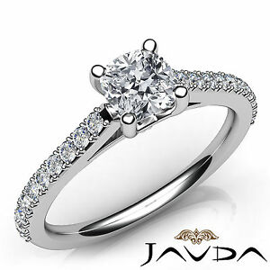 Double Prong Set Cushion Diamond Engagement Ring GIA F VVS2 Platinum 950 1.01Ct