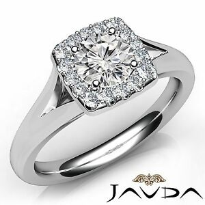 0.92ct Round Diamond Engagement U Cut Shared Halo Prong Ring GIA F VS1 Platinum