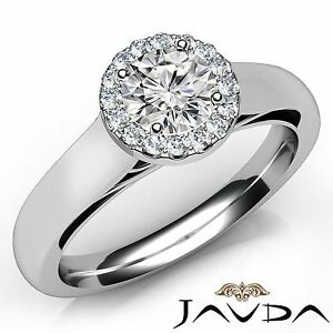 0.7ct Round Natural Diamond Engagement Halo Pave Ring GIA E VVS2 Platinum 950
