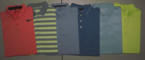 Lot of 6 NIKE FIT-DRY XL -SWOOSH LOGO  SS  GOLF POLO Shirts GREAT COLORS T9799
