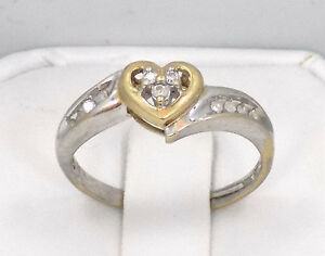 10kt Solid White and Yellow Gold Diamond Heart Cluster Ring ~ Sz 8 ~ 2.4 Grams