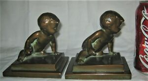 ANTIQUE 1929 LOUISE WILDER NY BRONZE METAL BABY CRAWL STATUE SCULPTURE BOOKENDS
