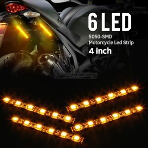 4Pcs Turn Signal Taillight Amber 6 LED Blinker Plate Lights Strip for Motorcycle $13.99