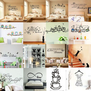 3D Vinyl Home Room Decor Art Quote Wall Decal Stickers Bedroom Removable DIY