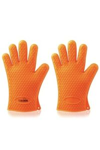 Pair Heat Resistant Gloves BBQ Kitchen Silicone Oven Mitts Waterproof Potholder