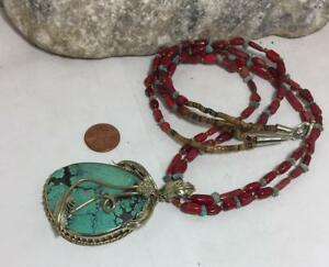 Gorgeous Nevada free form turquoise pendant coral necklace(b102k-w2)