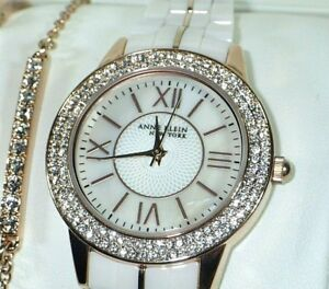 Anne Klein 122298RGST Ceramic Rose Gold Tone Crystal Watch & 3-Bracelet Set