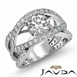 Pave Set Round Diamond Women's Engagement Designer Ring GIA F SI1 Platinum 2.2ct