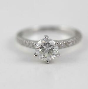 1.70 CARAT F VS1 ROUND CUT DIAMOND RING 18 K WHITE GOLD W ACCENTS CLASSIC